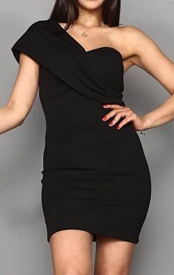 Siyah Omuz Detay Mini Abiye Elbise