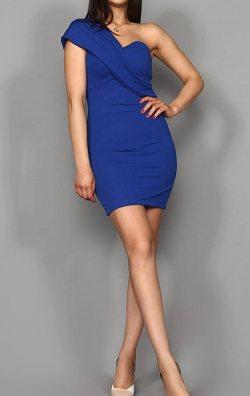 Saks Omuz Detay Mini Abiye Elbise