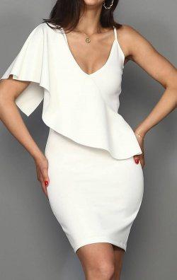 Beyaz Tasarım Mini Abiye Elbise