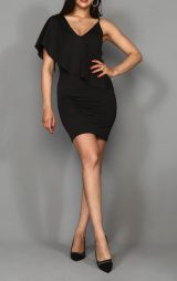 Siyah Tasarım Mini Abiye Elbise