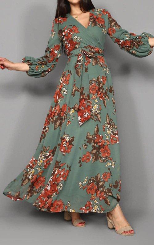 Romantik Çiçek Desen Uzun Şifon Elbise