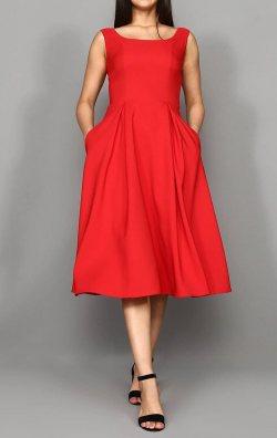 Kırmızı U Yaka Midi Boy Abiye Elbise