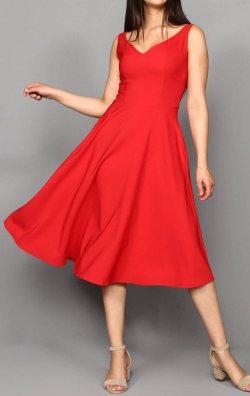 Kırmızı Kalp Yaka Midi Boy Abiye Elbise