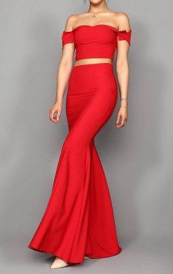Kırmızı Etek Bustiyer Takım Abiye Elbise