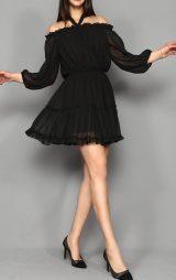Siyah Şifon Mini Abiye Elbise