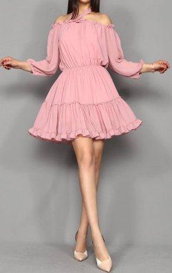 Pudra Şifon Mini Abiye Elbise