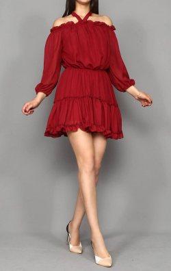 Bordo Şifon Mini Abiye Elbise