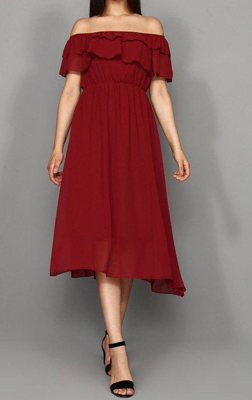 Bordo Kayık Yaka Şifon Abiye Elbise