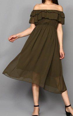 Haki Kayık Yaka Şifon Abiye Elbise