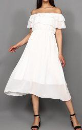 Beyaz Kayık Yaka Şifon Abiye Elbise