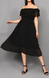 Siyah Kayık Yaka Şifon Abiye Elbise