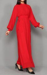 Kırmızı Şifon Uzun Abiye Elbise