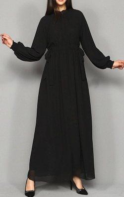 Siyah Şifon Uzun Abiye Elbise