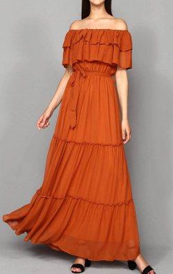 Kiremit Şifon Kayık Yaka Abiye Elbise