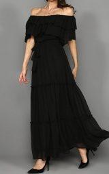 Siyah Şifon Kayık Yaka Abiye Elbise