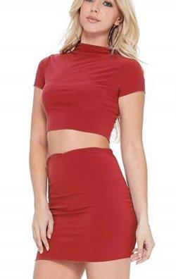 Kırmızı iki Parça Seksi Mini Elbise