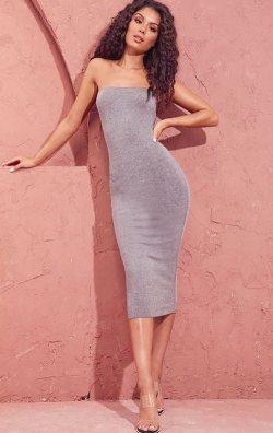 Gri Melanj Straplez Midi Elbise