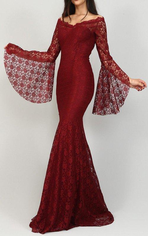 Bordo Dantelli Balık Abiye Elbise