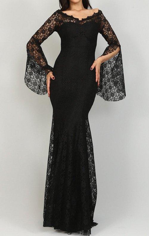 Siyah Dantelli Balık Abiye Elbise