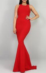 Kırmızı Sırt Detaylı Balık Abiye Elbise