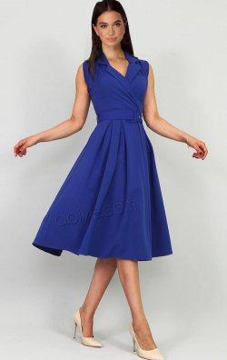 Mavi Kemerli Kruvaze Yaka Midi Abiye Elbise