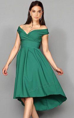 Yeşil Kalp Yaka Midi Abiye Elbise