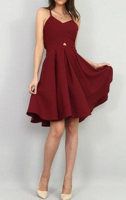 Bordo Sırt Detay Abiye Elbise