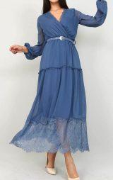 Mavi Tül Detaylı Şifon Elbise