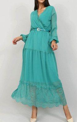 Yeşil Tül Detaylı Şifon Elbise