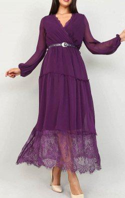 Mor Tül Detaylı Şifon Elbise
