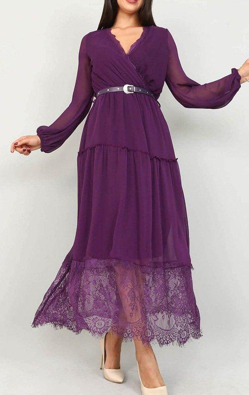 843c796dce617 Mor Tül Detaylı Şifon Elbise Fiyatı