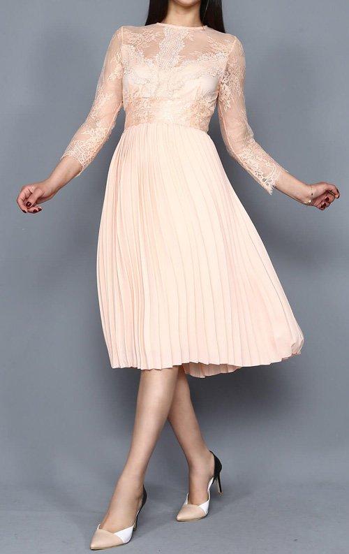 Pudra Tül Detay Midi Abiye Elbise