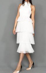 Beyaz Kat Kat Tül Midi Abiye Elbise