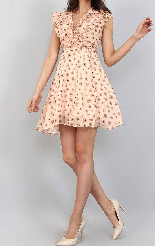 Ekru Çiçekli Şifon Mini Abiye Elbise