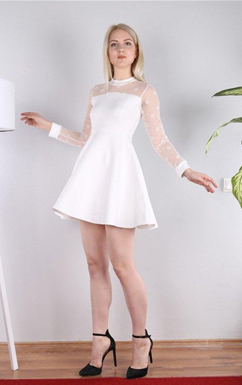 Puantiyeli Beyaz Tüllü Mini Elbise