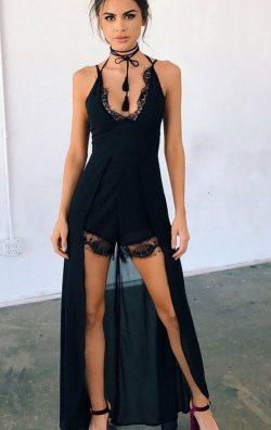 Şortlu Uzun Plaj Elbisesi Siyah