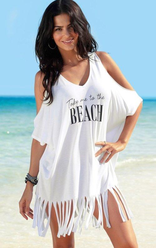 Beach Baskılı Beyaz Pareo