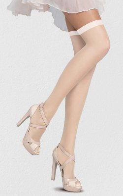 Slikon Standart Düz Jartiyer Çorabı Beyaz
