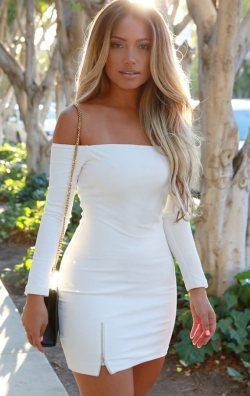 Fermuarlı Beyaz Abiye Elbise