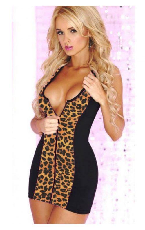 Fermuarlı leopar mini elbise