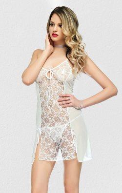 Beyaz Transparan Gecelik Seksi Giyim Alfio