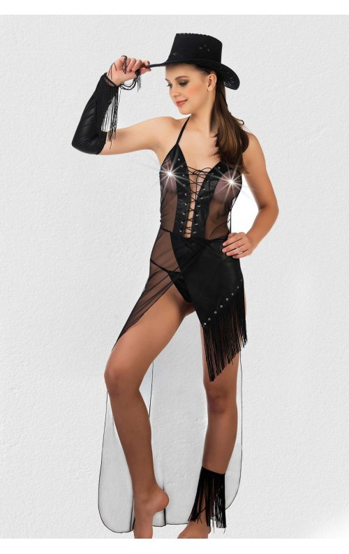 Siyah Deri Kovboy Kadın Kostümü