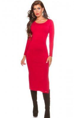 Kırmızı Uzun Kollu Yırtmaçlı Elbise