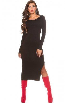 Uzun Kollu Siyah Yırtmaçlı Elbise