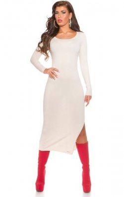 Uzun Kollu Beyaz Yırtmaçlı Elbise