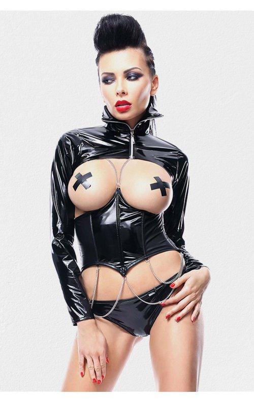 Göğsü Açık Bolero Deri Seksi Giyim