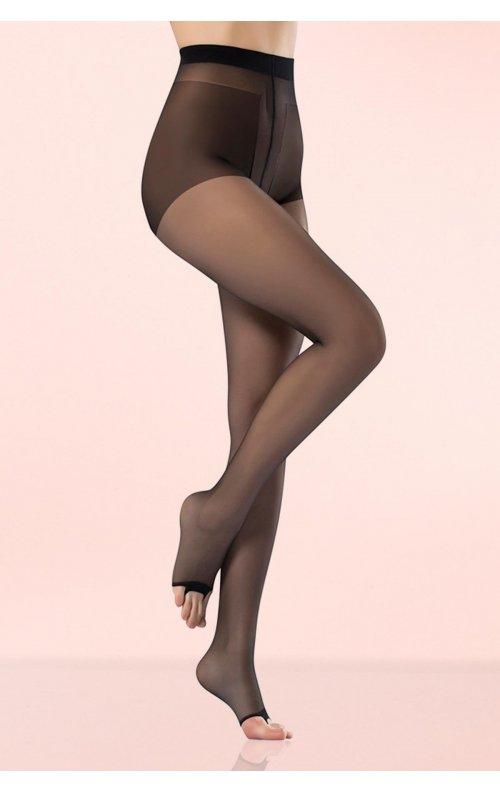 Külotlu Çorap Şeffaf Burnu Açık Siyah Renk