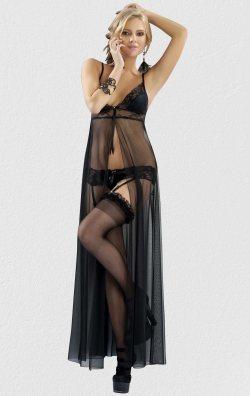 Siyah Jartiyerli Uzun Tül Gecelik Takım