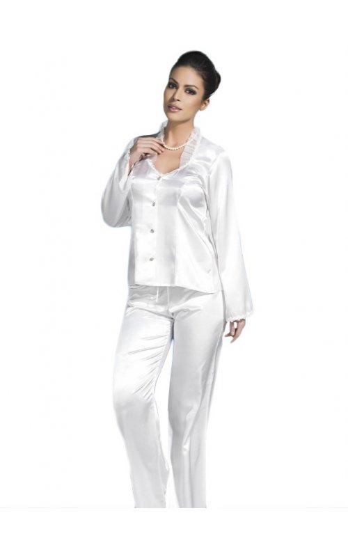 Beyaz Gecelik Saten Pijamalı Takım