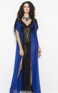 Fantazi Kadın Gecelik ve Sabahlık Takım Saks Mavi